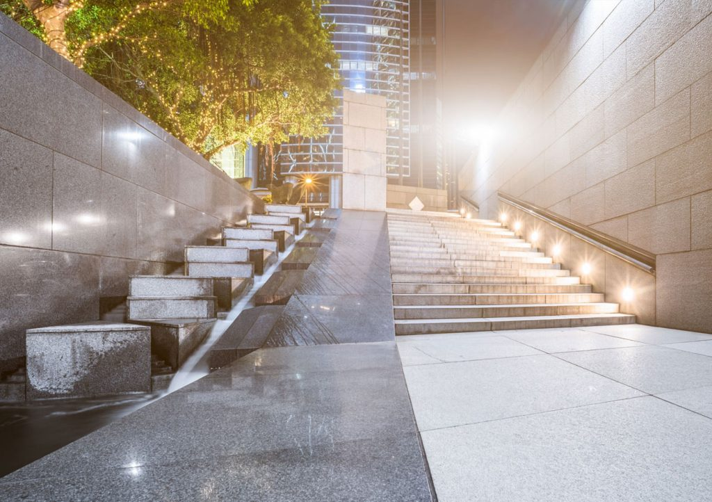 outdoor lighting on building stairs